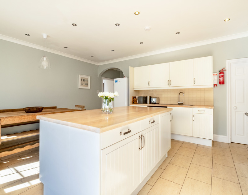 The light filled kitchen at Carrek House self catering holiday home in Rock, North Cornwall.