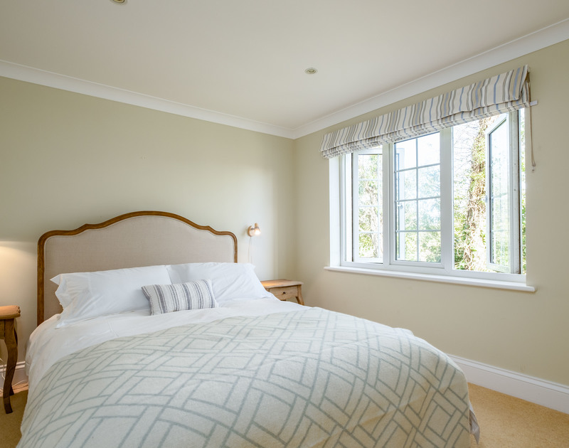 The double bedroom at Carrek House self catering holiday home in Rock, North Cornwall.