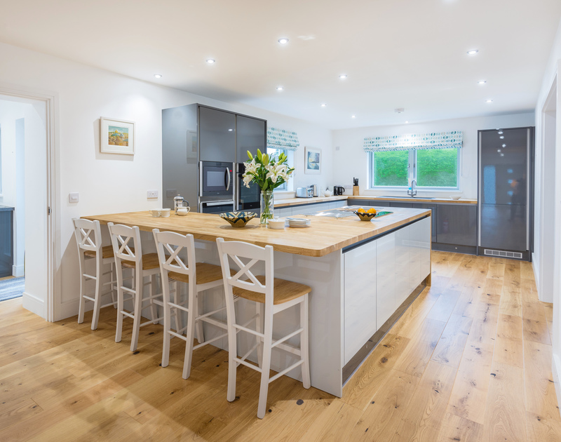 The modern kitchen at Artemis self catering holiday home in Rock, North Cornwall.