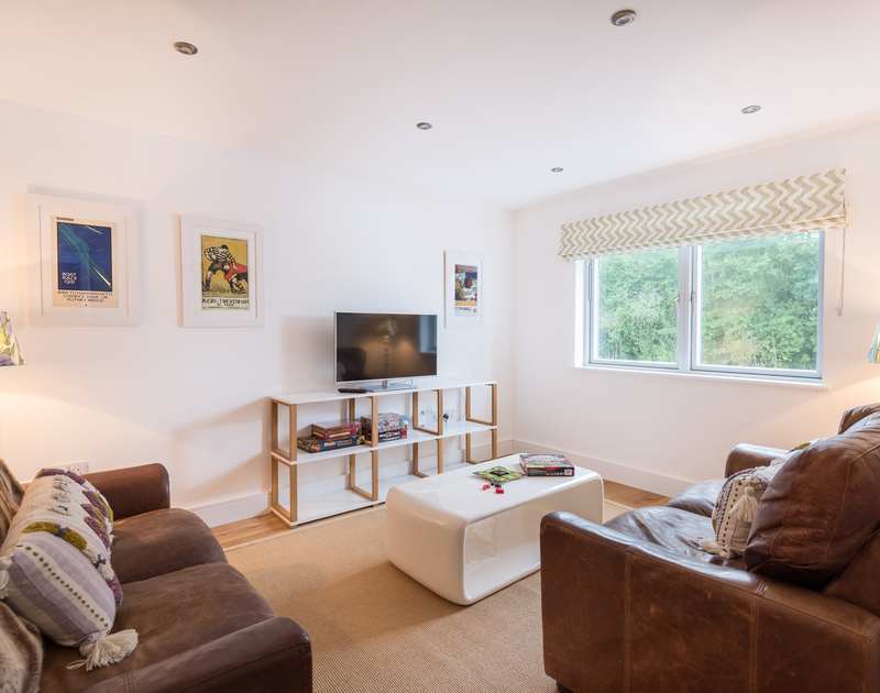 The TV room at Artemis self catering holiday home in Rock, North Cornwall.