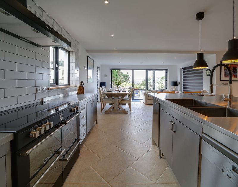 The stylish kitchen at Chy-An-Ros self catering holiday home in New Polzeath, North Cornwall.