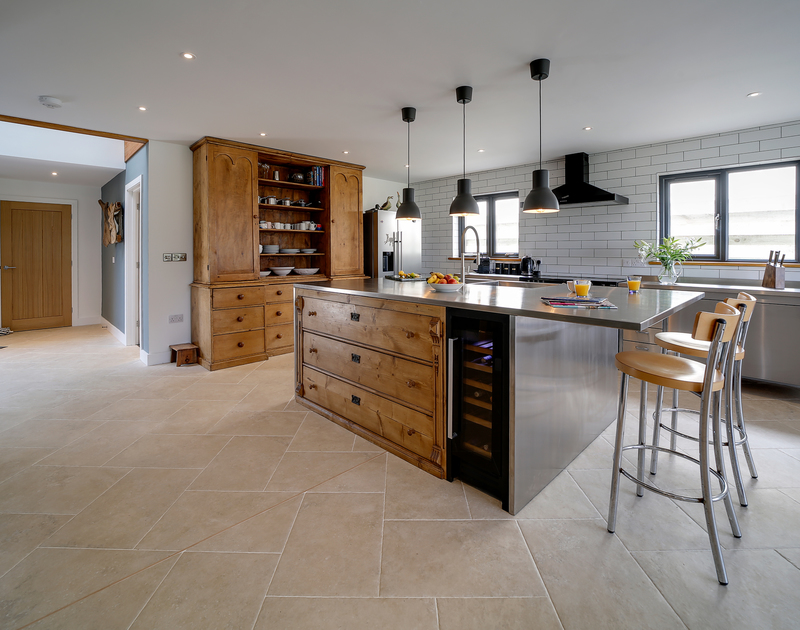 The spacious kitchen at Chy-An-Ros self catering holiday home in New Polzeath, North Cornwall.