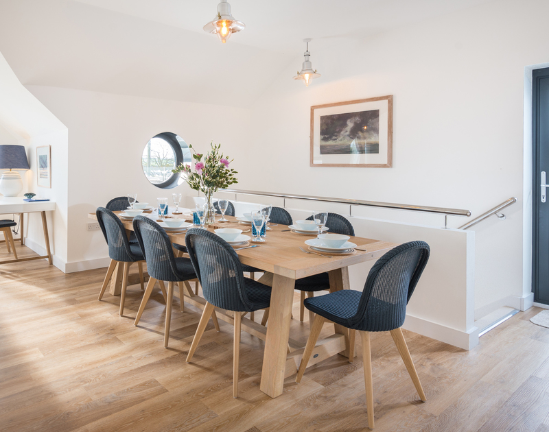 The welcoming dining area at First Light self catering holiday home in Rock, North Cornwall.