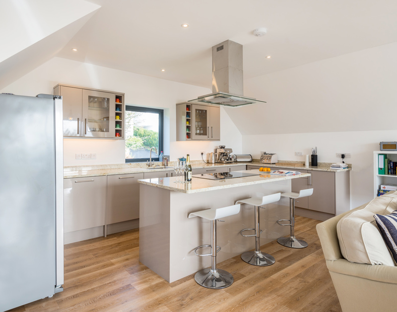 The modern kitchen at First Light self catering holiday home in Rock, North Cornwall.