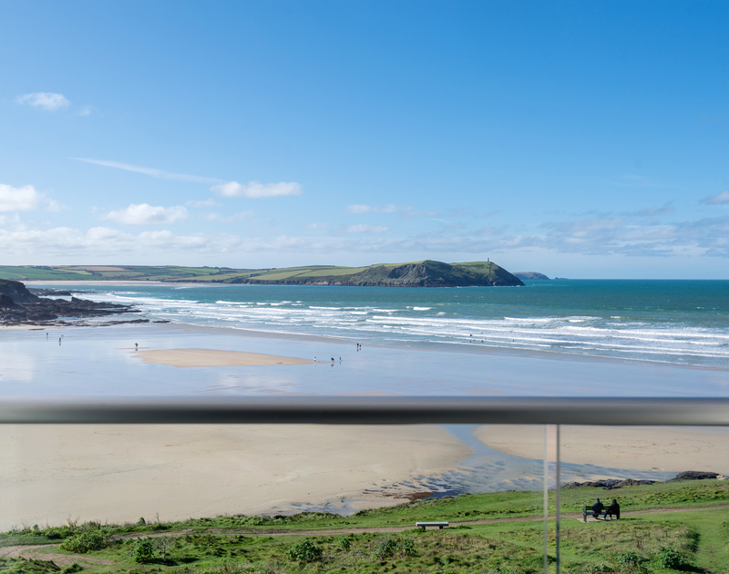 The amazing sea views from Greenaway Apartment 8 Atlantic House self catering holiday home in New Polzeath, North Cornwall.