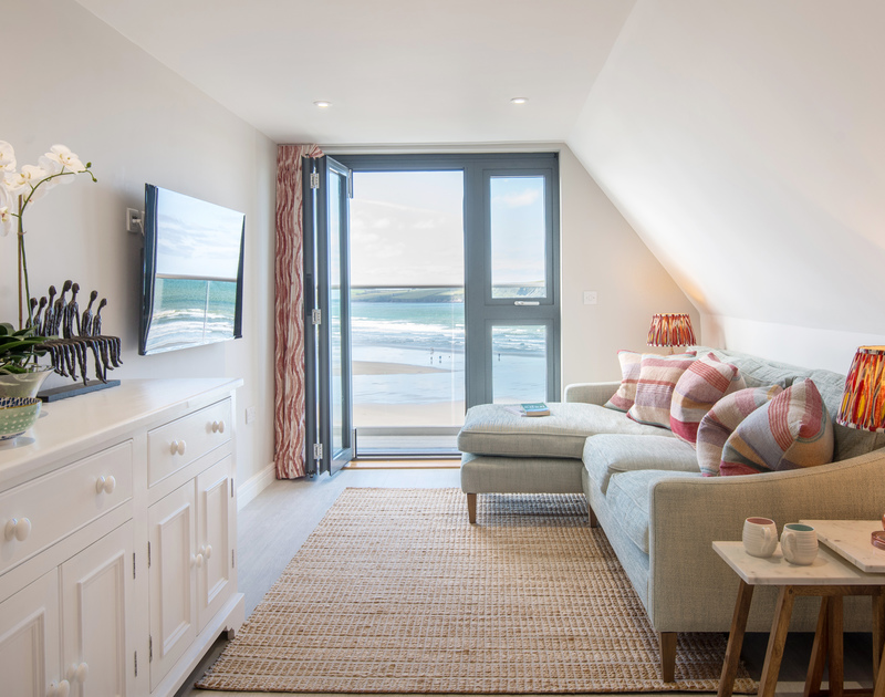 The breathtaking sea views from the living room at Greenaway self catering holiday home in New Polzeath, North Cornwall.