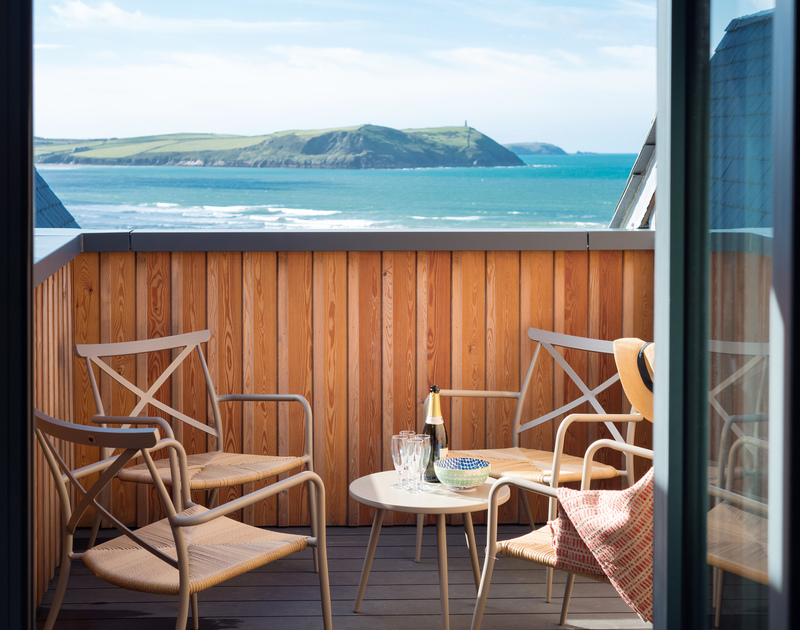 The amazing views from the master bedroom balcony at Greenaway self catering holiday home in New Polzeath, North Cornwall.