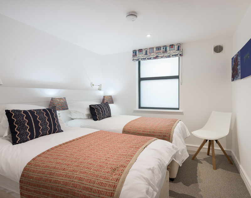 The twin bedroom at Greenaway self catering holiday home in New Polzeath, North Cornwall.