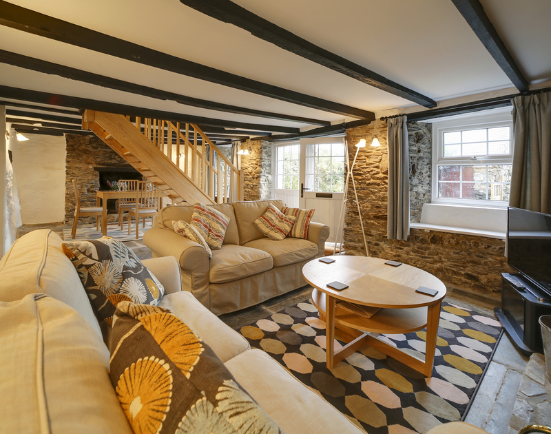 The open plan lounge and dining room at Dane Cottage in Port Isaac, North Cornwall.