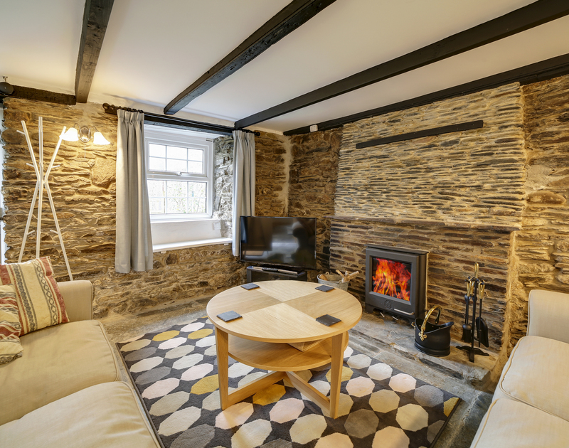 The character filled lounge at Dane Cottage self catering holiday home in Port Isaac, North Cornwall.