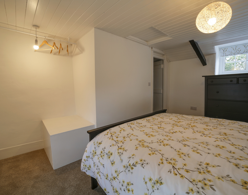 The master bedroom at Dane Cottage self catering holiday home in Port Isaac, North Cornwall.