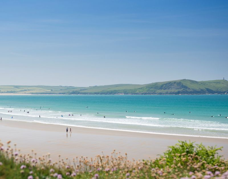 Idyllic Polzeath beach, just moments from Chy-An-Ros self catering holiday home in Polzeath, North Cornwall.