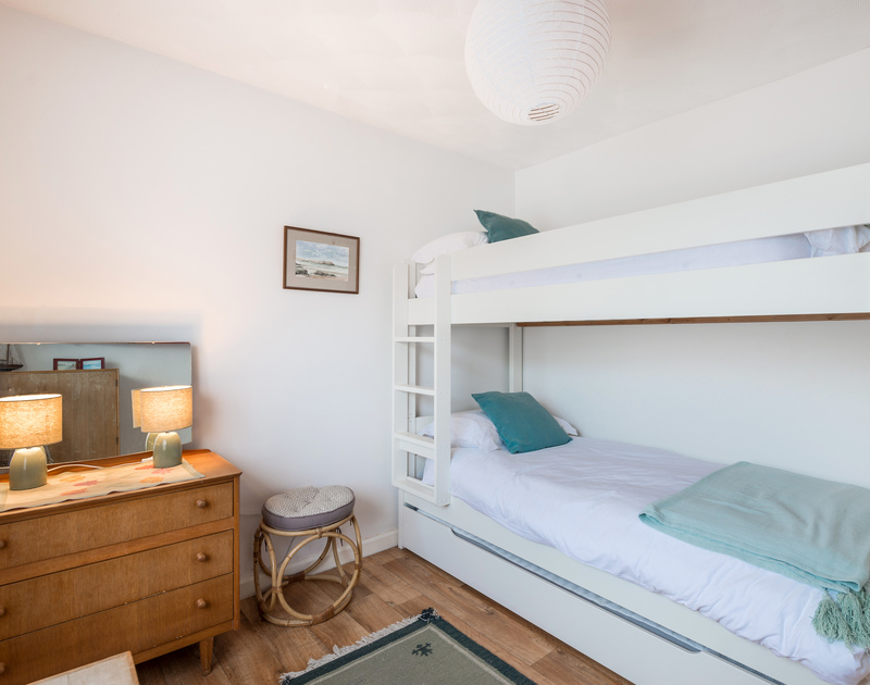 The bunk bedroom at Bella Vista self catering holiday home in Polzeath, North Cornwall.