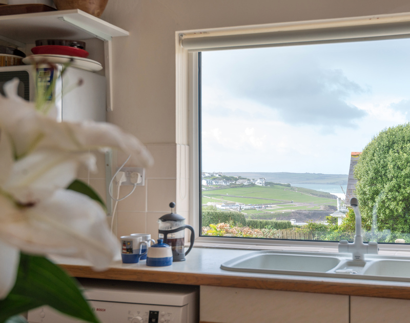 The sea and coastal views from Bella Vista self catering holiday home in Polzeath, North Cornwall.