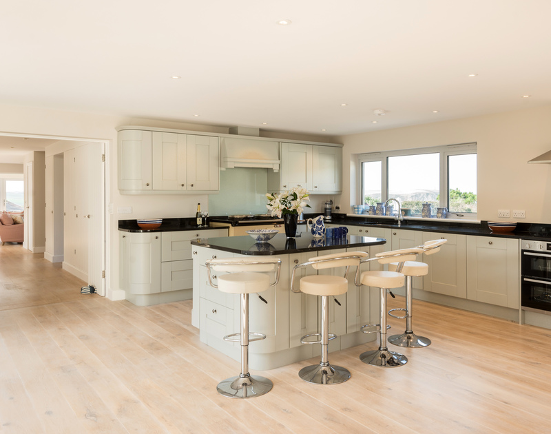 The well-equipped kitchen at Greenaway Heights self catering holiday home in Daymer Bay, North Cornwall.