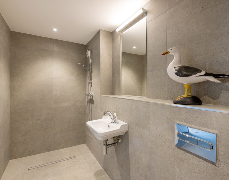 The shower room at Greenaway Heights self catering holiday home in Daymer Bay, North Cornwall.