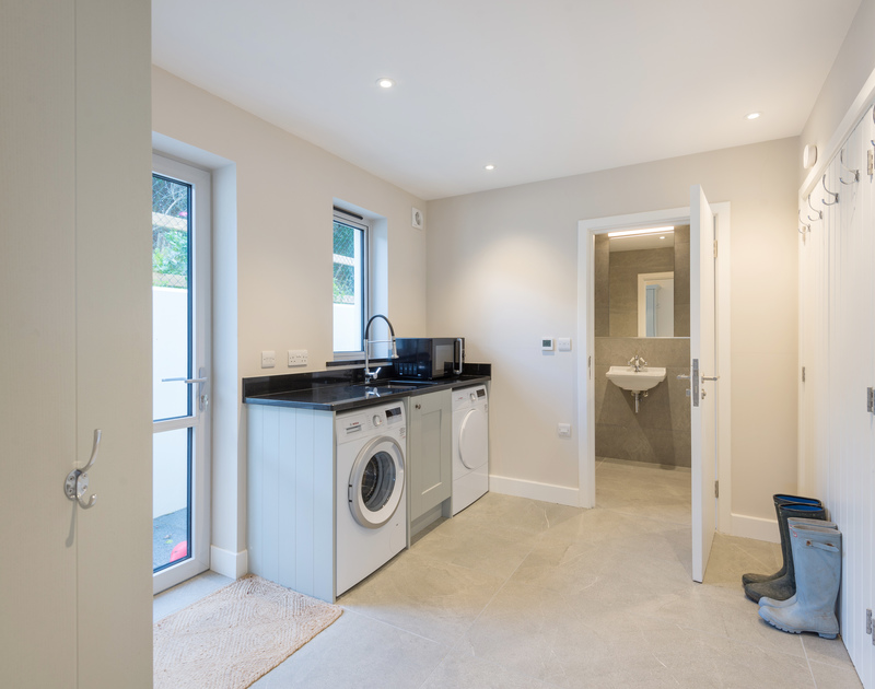 The utility room at Greenaway Heights self catering holiday home in Daymer Bay, North Cornwall.