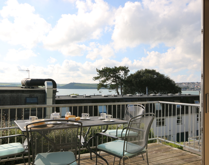 The amazing views of the Camel estuary from the balcony at Slipway 7 self catering holiday home in Rock, North Cornwall.
