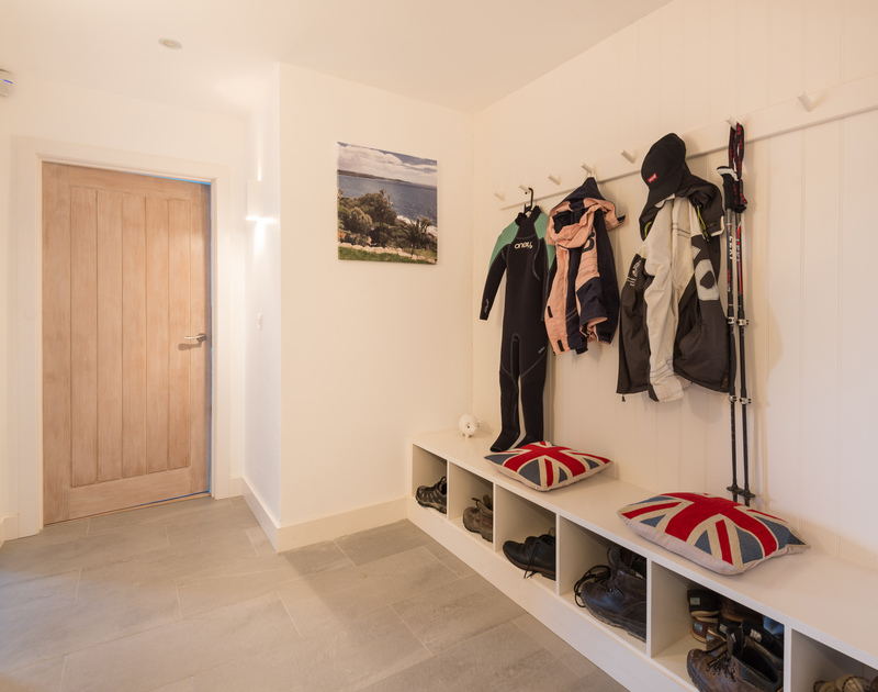 The boot store at Stepper Point self catering holiday home in Polzeath, North Cornwall.