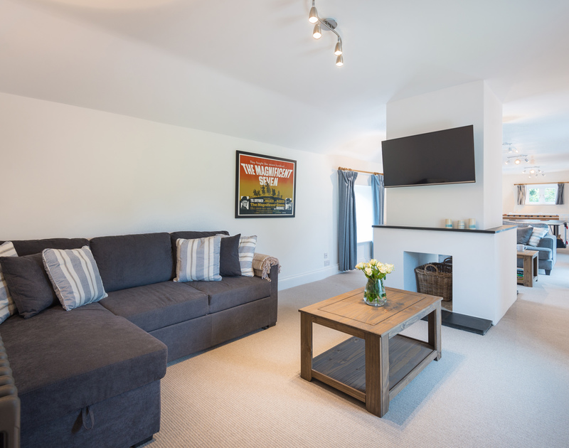 The spacious social spaces at Orchard Cottage self catering holiday home in Trelights, Port Isaac, North Cornwall.