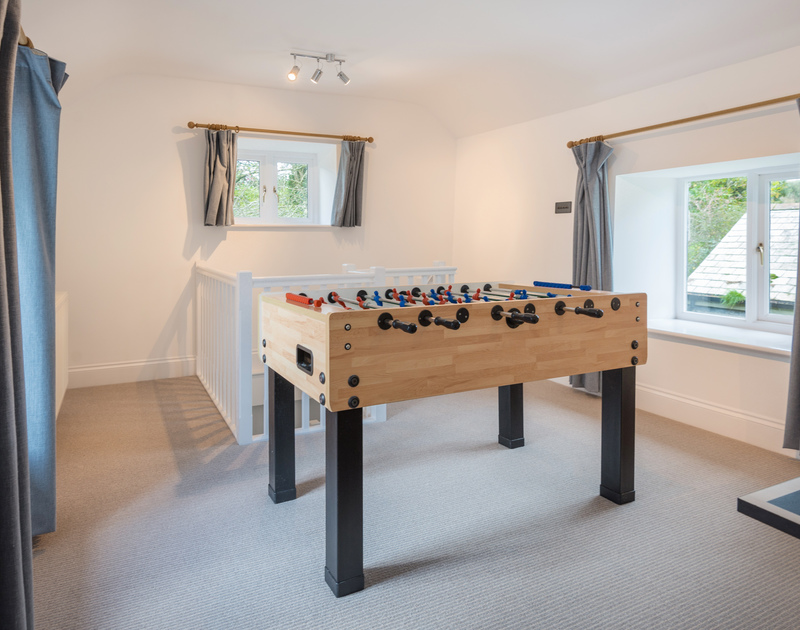 The table football at Orchard Cottage self catering holiday home in Trelights, Port Isaac, North Cornwall.