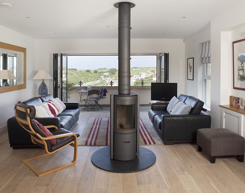 The stylish sitting room at Kellan self catering holiday home in Polzeath.