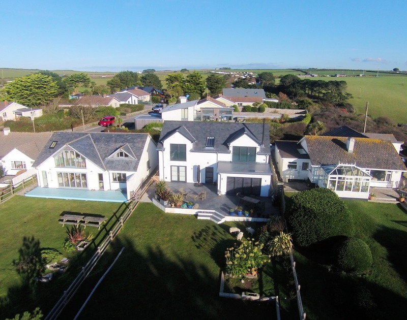 The aerial view of Chy-An-Ros self catering holiday home in New Polzeath, North Cornwall.