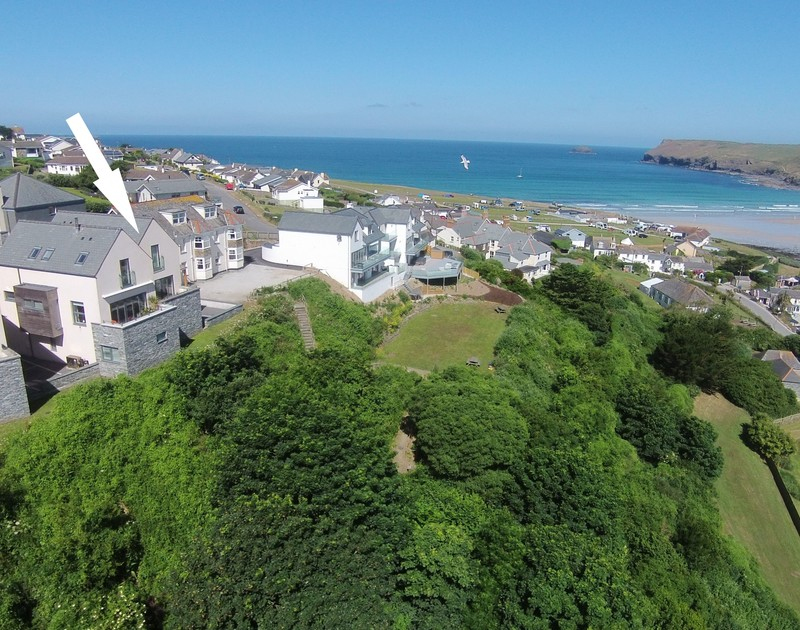 An aerial view of Stepper Point self catering holiday home in Polzeath, North Cornwall.