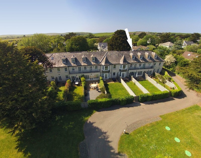 The aerial view of Lowenna Manor 8 self catering holiday home in Rock, North Cornwall.