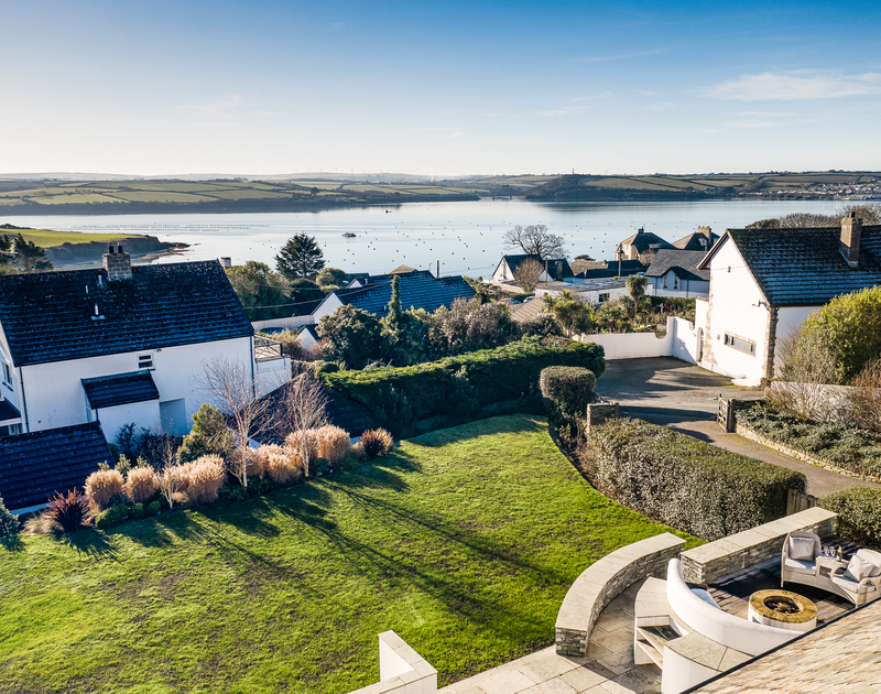 An aerial view of the garden and location of Landers Field self catering holiday home in Rock, North Cornwall.