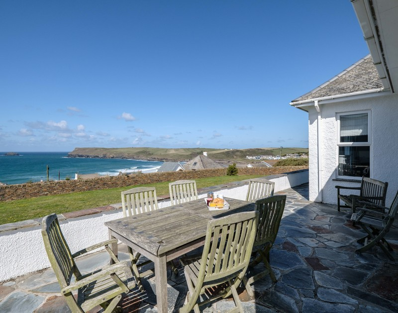 The lovely sea views from the terrace at Trequite self catering holiday home in Polzeath, North Cornwall.