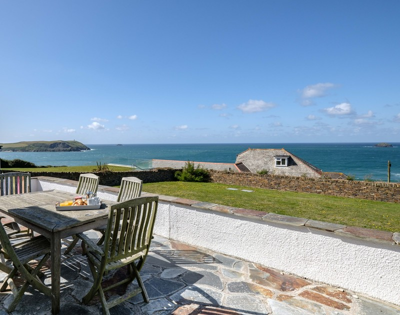 The amazing views from the sunny terrace at Trequite self catering holiday home in Polzeath, North Cornwall.