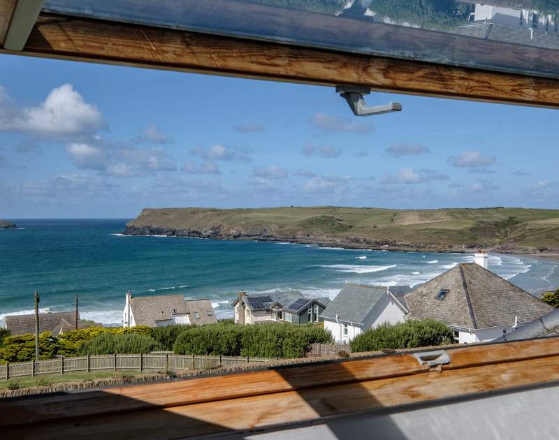The lovely sea views from the double bedroom at Trequite self catering holiday home in Polzeath, North Cornwall.