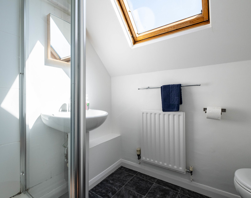 The shower and WC at Trequite self catering holiday home in Polzeath, North Cornwall.