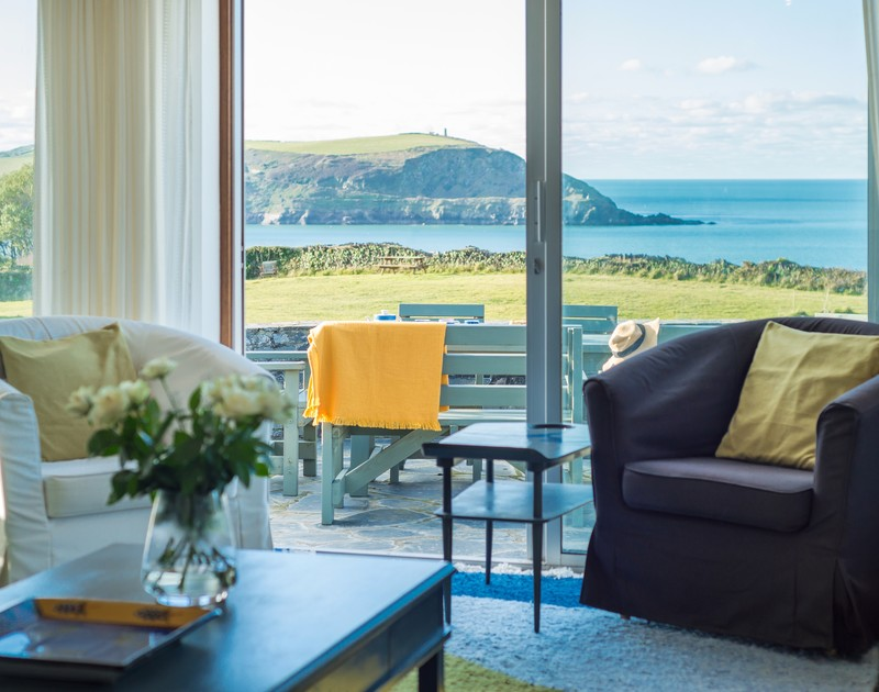 The sea views from the living room at Upper Gren self catering holiday home in Daymer Bay, North Cornwall.