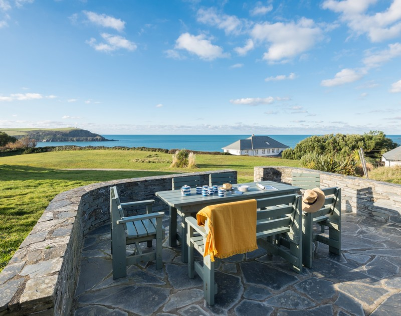 The amazing sea views from the patio at Upper Gren self catering holiday home in Daymer Bay, North Cornwall.