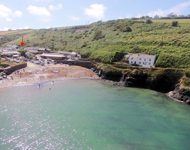 The aerial view of Stoptide Cottage self catering pet friendly holiday home in Port Gaverne, Port Isaac, North Cornwall.