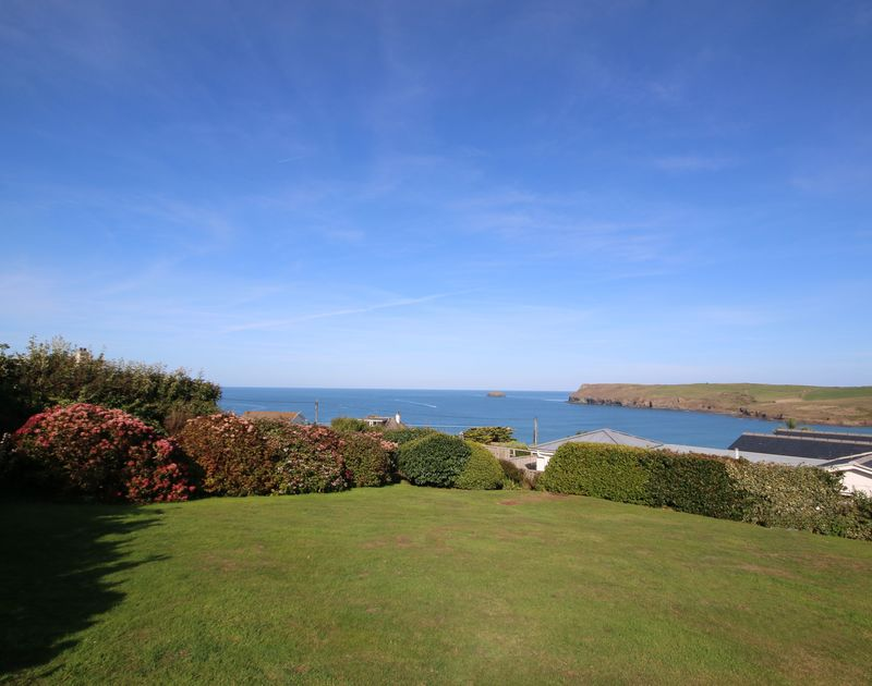 The lovely garden with sea views at Little Buckden self catering holiday home in Polzeath, North Cornwall.