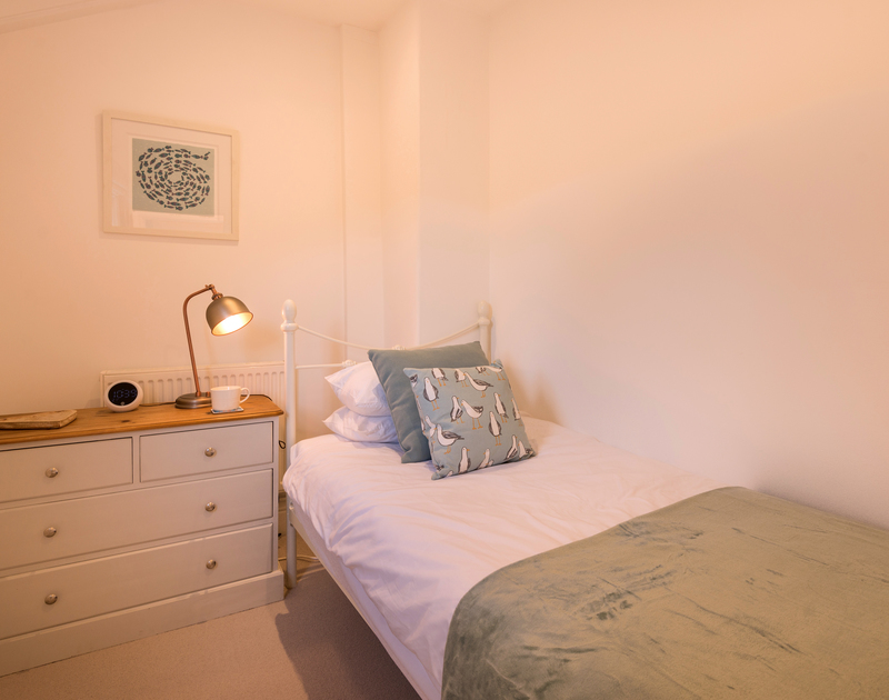 The single bedroom at Kipper Cottage self catering holiday home in Port Isaac, North Cornwall.