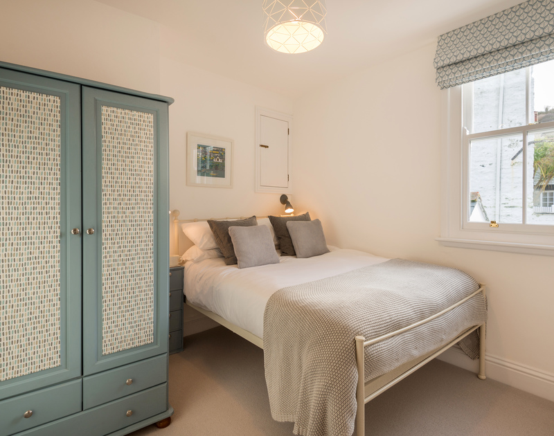 The double bedroom at Kipper Cottage self catering holiday home in Port Isaac, North Cornwall.