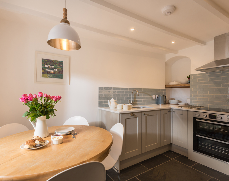 The lovely kitchen at Kipper Cottage self catering holiday home in Port Isaac, North Cornwall.