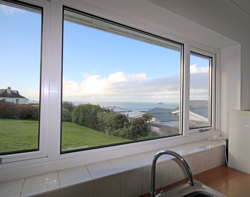 The lovely sea views from Little Buckden self catering holiday home in Polzeath, North Cornwall.