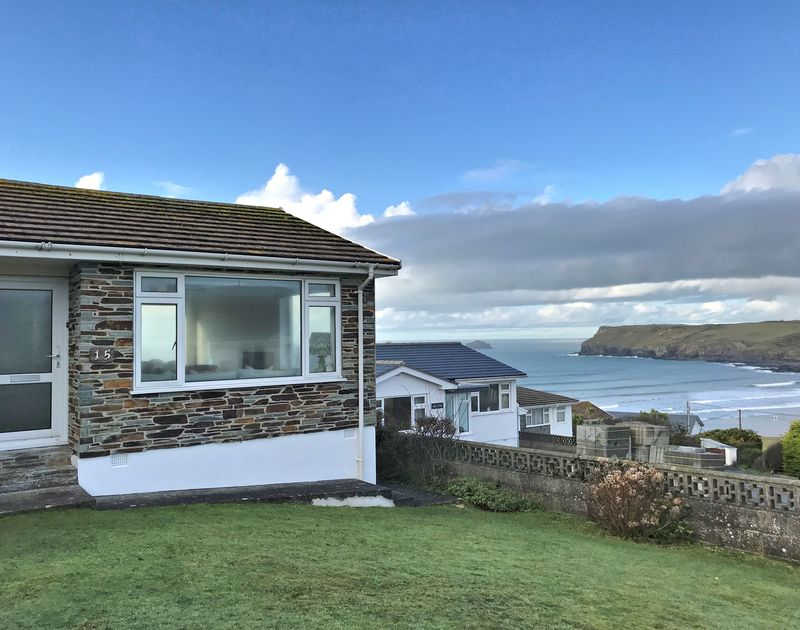 The front view of Little Buckden self catering holiday home in Polzeath, North Cornwall.