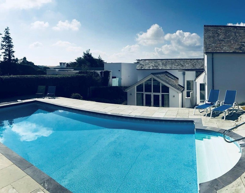 The idyllic pool at Landers Field self catering holiday home in Rock, North Cornwall.