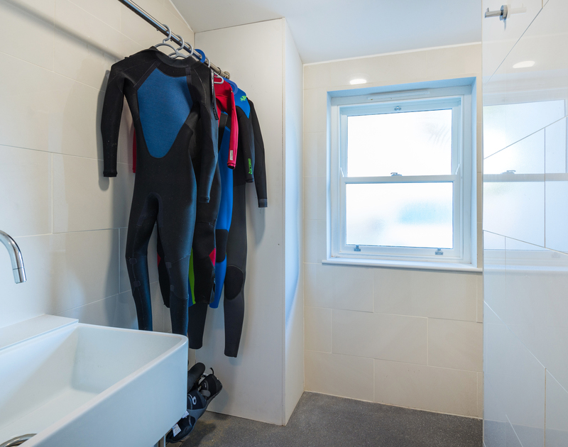 The convenient wet room at Lowenna Manor 8 self catering holiday home in Rock, North Cornwall.