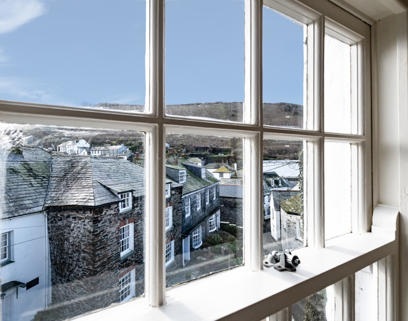 The view onto quaint Dolphin Street from the master-bedroom window at Homelands, Port Isaac