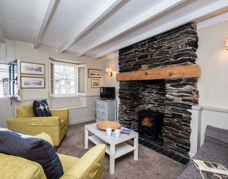 The living room at Homelands in Port Isaac, overlooking the famous pedestrian-only Dolphin Street