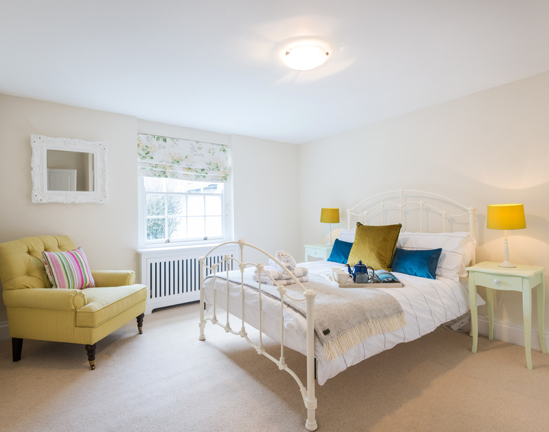 The light-filled double bedroom on the first floor of Trevan House