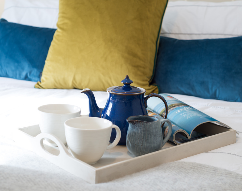 Morning coffee in bed helps to plan the day ahead
