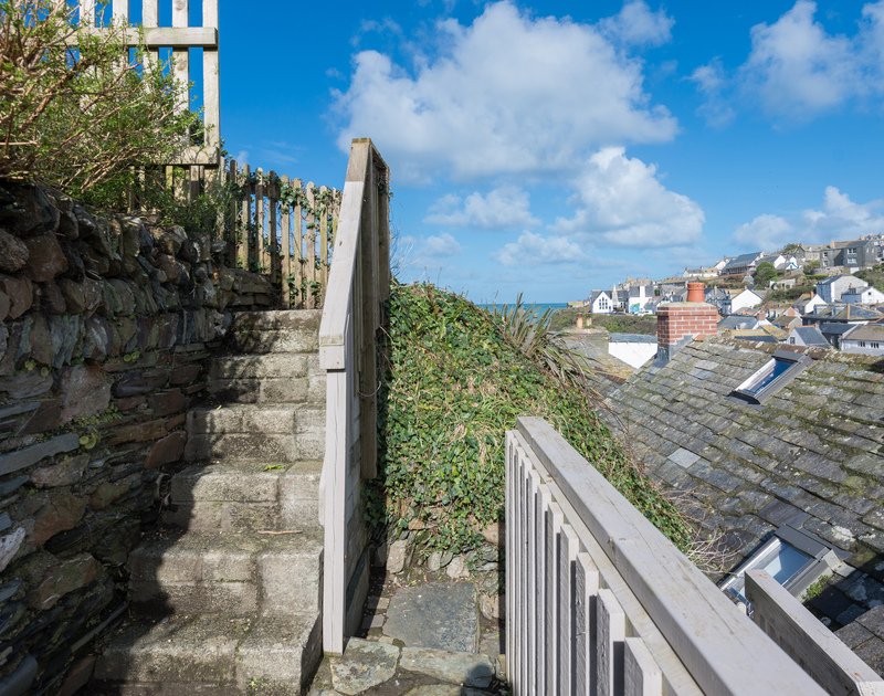 Sunny steps up from the first terrace to the next at Scuppers garden, Port Isaac